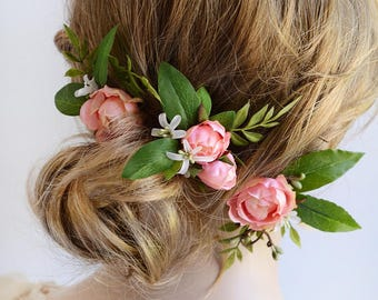 bridal hair piece, wedding hairpiece, pink flower hair pins, pink flower hair clip, bridal hair pins, hair flower, pink rose hair, leaves