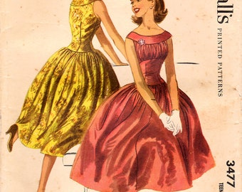 1950s McCall's 3477 Vintage Sewing Pattern Teen Formal Dress, Full Skirt Dress, Midriff Dress, Drop Waist Dress Size 10 Bust 28