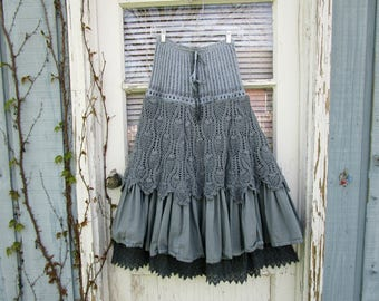 Sea Glass Blue Crochet Tiered Skirt// Hand Dyed// Small// Reconstructed Skirt// emmevielle