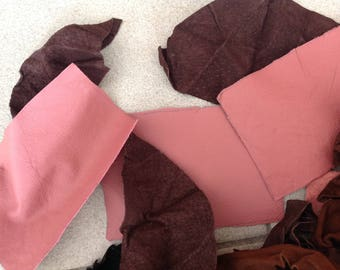 Leather off cuts, leather patches, thick and thin, suede and leather, pink brown black, bag making supplies