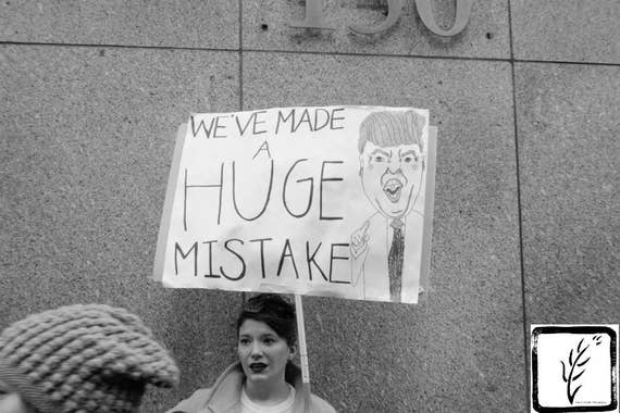 B&W #Photograph, #womensmarch, #nastywomen, feminist, Huge Mistake, photo print, wall art, home decor, resist, new york, shepersisted, haiku