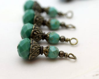 Green Multifaceted Rondelle Crystal and Turquoise Czech Crystal Bead Earring Dangle Necklace Charm Drop Set