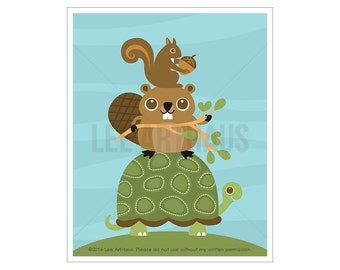 87A Woodland Animal Art - Squirrel Beaver and Turtle Wall Art - Beaver Decor - Turtle Print - Beaver Art - Squirrel Art - Animal Nursery