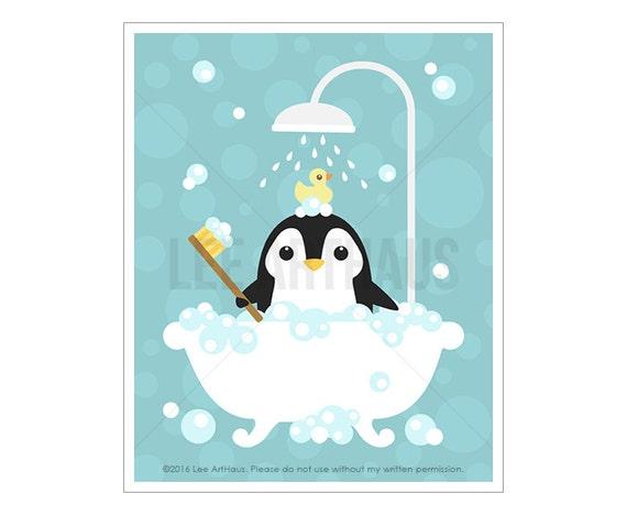 40A Bathroom Print - Penguin in Bathtub Wall Art - Penguin Print - Penguin Wall Art - Bath Decor - Art for Bathroom - Penguin Nursery Print