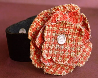 Burlap Flower Cuff - Leather and Printed Burlap Bracelet