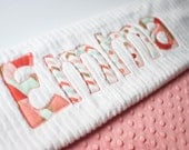 Monogrammed Baby Blanket in SPRING BROOK, Coral Dot Minky and White Chenille, Personalized with Your Baby Girl's First Name in Zig Zags