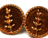Antique Perfume BUTTONs, 2 Victorian velvet buttons with plantlife, flowers, 1/2""