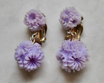Lavender Plastic Flower Hanging Earrings