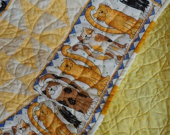 Table Runner Handmade Quilted Patchwork Features Cats Free USA Shipping
