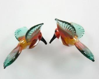 Lampwork Beads Glass Hummingbirds Miniature Tropical Bird Beads Pair RC Art Glass Lampwork Handmade