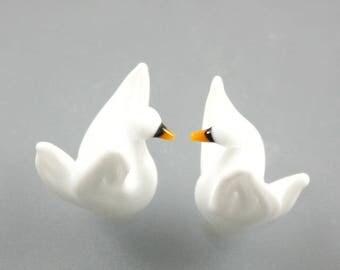 Lampwork Beads-Bird Beads-Glass Beads-White Swan Beads-Swans-Glass Swans-Lampwork Glass Lampwork Beads