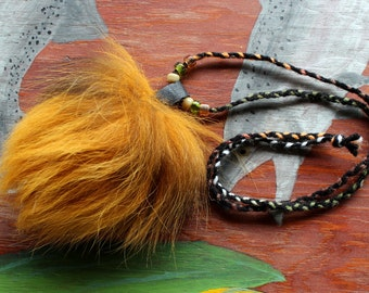 Real yellow dyed silver fox tail fur necklace with braided cord and glass beads - simple nature jewelry for costumes, holidays, more