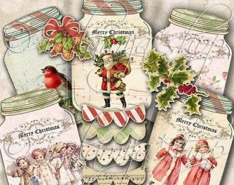 SALE CHRISTMAS JARS Collage Digital Images -printable download file Scrapbook Printable Sheet