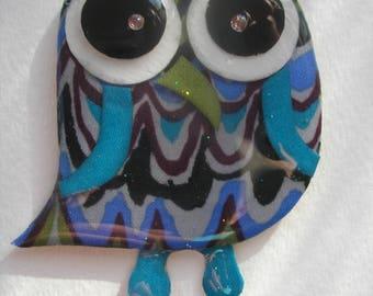 Signed Dalton Retro Layered Modernist Owl Pin Pendant