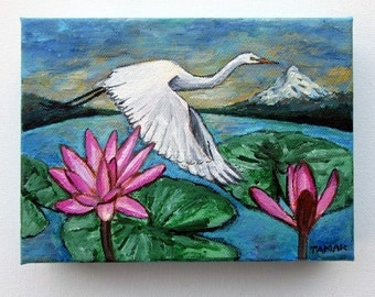 Great Egret Water Lilies and Mount Hood, Original Painting, Acrylic on Canvas, White Heron Art, 5X7 inch, Wildlife Art, Wildlife Paintings
