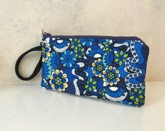 Handmade Wristlet Clutch Blue Floral