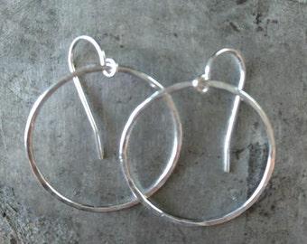 "5/8"" Hammered Sterling Ring Earrings"