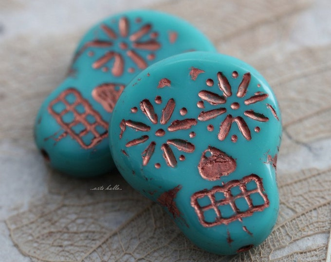 COPPER TEAL SKULLS .. 2 Picasso Czech Sugar Skull Beads 20x17mm (5522-2)