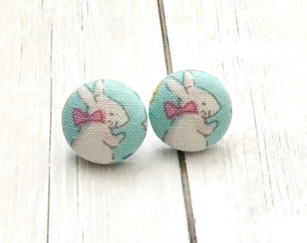 Bunny Fabric Button Earrings, Easter Jewelry, Easter Earrings, Rabbit Earrings, Kids Earrings, Easter Basket Gift,