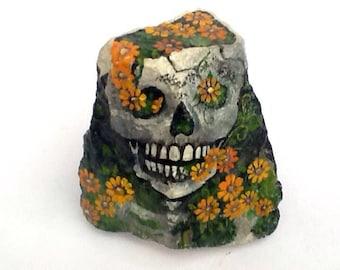 FLOWERING SKULL hand painted rock art for the home or garden