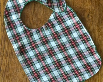Green and Red Plaid Minky Baby/Toddler Bib