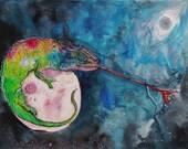 Space Chameleon // Print of Original Animal Illustration Artwork, Wall Decor, Art Print by Far Out Arts