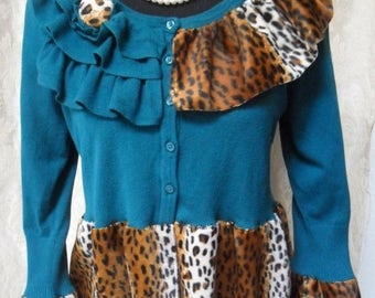 30% OFF Spring Cleaning SWEATER Cardigan Leopard Boho Altered Clothing Whimsical Holiday - Sweater - Teal and Leopard