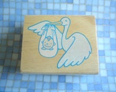 Rubber Stamp -STORK WITH BABY- One Dollar Stamp New