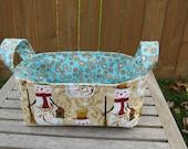 Fabric Basket Bin, Storage, Organization, Home Decor, Gift Bin, Fabric Bin, Snowmen on Tan, Winter Fabric, Small Size