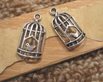 Antique Silver Pewter Bird Cage Charms - 2 Count