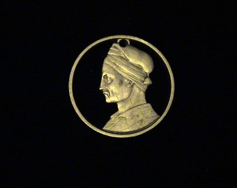 GREECE - cut coin pendant - Konstantinos Kanaris,  Greek admiral, freedom fighter and politician - 1982