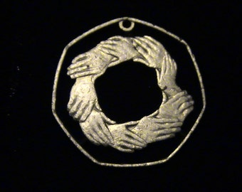 Great Britain - cut coin pendant - Interlocked Hands - 1973 - DISCOUNTED