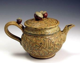 Acorn and Oak Leaf, Ash-Glazed  Teapot