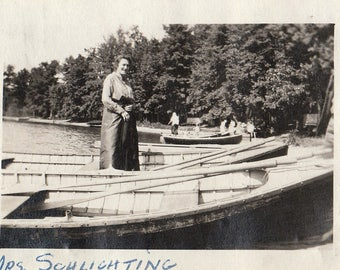 Original Vintage Photograph Snapshot Woman Standing in Row Boat Boats 1910s-20s