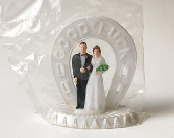 Cake Topper Bride and Groom Topper Wedding Cake Topper Vintage New Old Stock Good Luck cake topper 1960s New in package