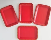 Vintage Small Red Metal Trays -Set of 4