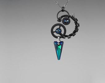 Steampunk Pendant with Bermuda Blue Swarovski Crystals, Steampunk Necklace, Swarovski Crystal, Statement Necklace, Crystal Jewelry, Mimas v6