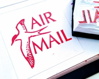 Air Mail Rubber Stamp - Hand Carved