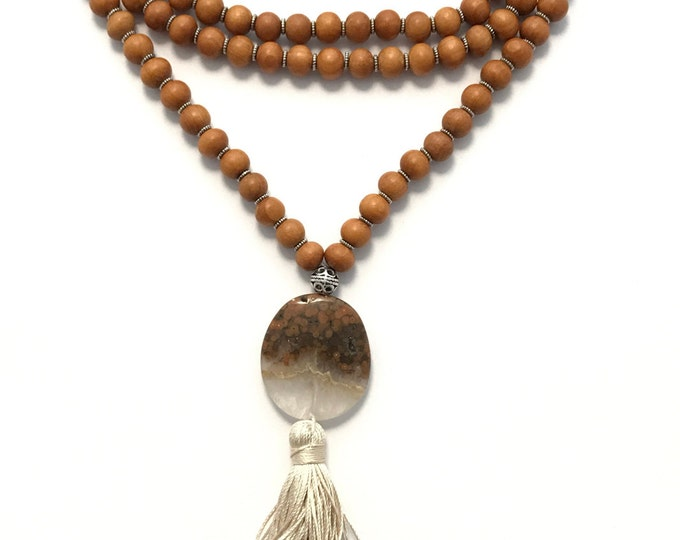 traditional 108 bead sandalwood mala with jasper focal stone and silk tassel, yoga necklace, yoga jewelry, wood necklace, tassel necklace