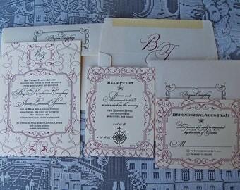 Letterpress Wedding Invitation DEPOSIT, Wedding Invitation, Classic Wedding Invitation, Wedding Invitations, French Wedding Invitation