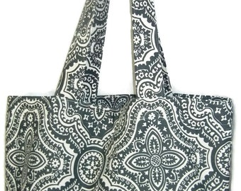 Market Tote Bag, Grocery Bag, Carryall Fabric Bag, geometric Gray and Cream Bag