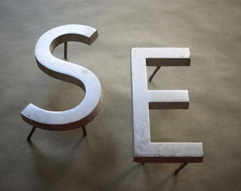Vintage Aluminum Signage Letters S or E, One of Your Choice, Industrial Decor, Upper Case Initial, Wall Decoration, Store Sign