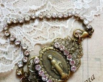 Antiqued filigree Virgin Mary medal bracelet