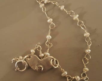 Sterling and freshwater pearl bracelet with Sterling heart with diamond