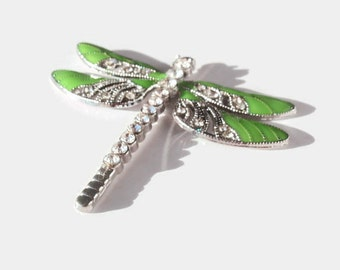 1 Pendant, Spring Green Dragonfly, Jewelry Making Supply, Platinum Color with Crystal Rhinestones