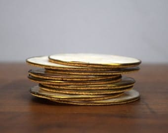 "Vintage Capiz Shell Coasters, 3"" Brass Rim and Cork Backed, Set of 9, Tiki Bar, Beach Decor"