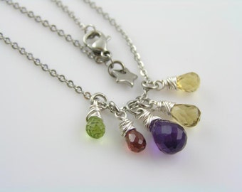 Handmade Gemstone Necklace, Amethyst, Citrine, Garnet and Peridot, Gem Necklace, Gem Jewelry, Amethyst Necklace, Wire Wrapped Necklace