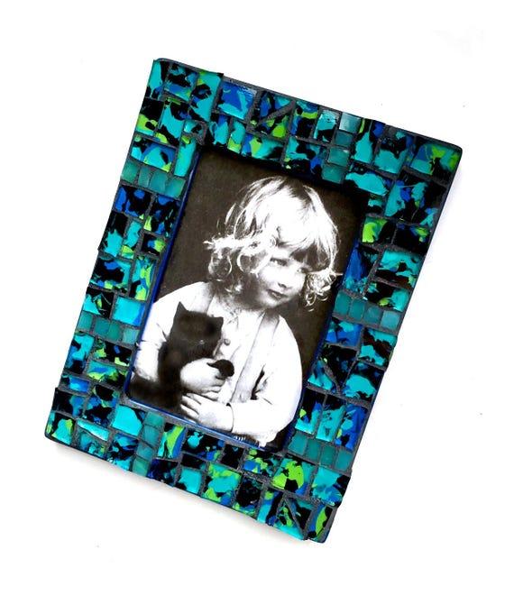 Blue Black Glass Mosaic Frame, 4x6 Mosaic Frame, Handmade Mosaic Frame, Gift Frame, Royal Blue Black Aqua Turquoise Green Glass Mosaic Frame