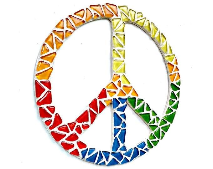 Mosaic PEACE Sign, Rainbow Peace Sign, Mosaic Peace Sign Wall Hanging, Rainbow Peace Mosaic Art, Yellow Blue Orange Green Peace Sign