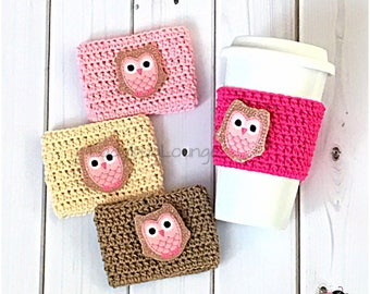 Coffee Cup Cozy. Pink Owl Coffee Cozy. Cute Glitter Owl Travel Mug Cozy. Birthday Party Favor. Gift for kids. Gift for Her. Gift under 10.